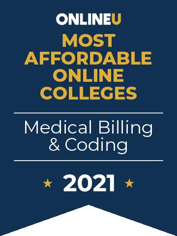2021 Most Affordable Online Colleges Offering Certificate in Medical Billing & Coding Badge