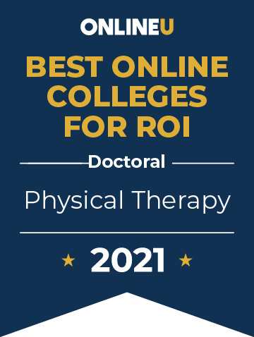 2021 Best Online Colleges Offering Doctoral Degrees in Physical Therapy Badge
