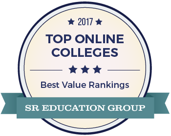 The 2017 Top Online Colleges award badge