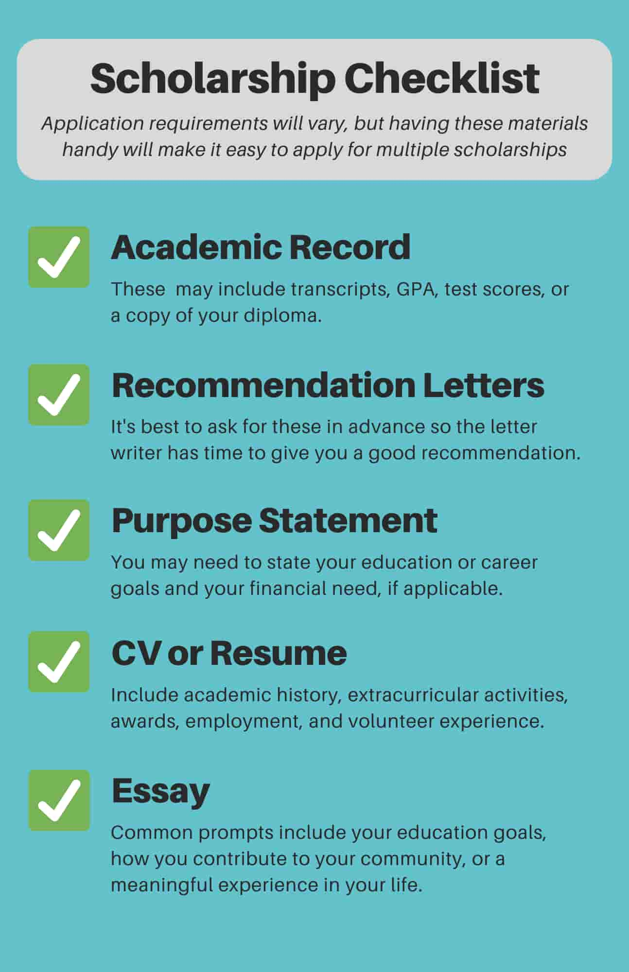 checklist for applying for a scholarship