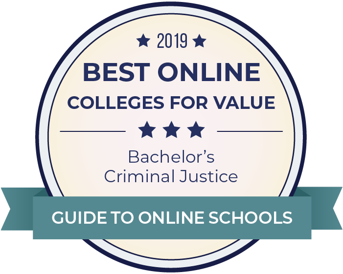 2019 Best Online Colleges Offering Bachelor's in Criminal Justice Badge