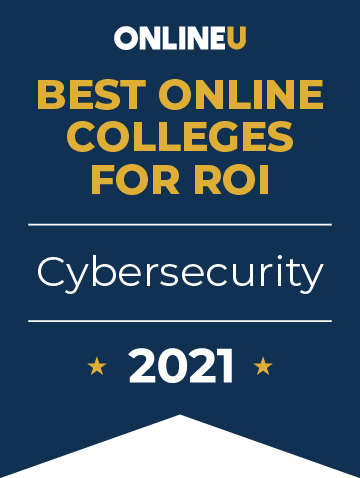 2021 Best Online Colleges Offering Bachelor's Degrees in Cybersecurity Badge