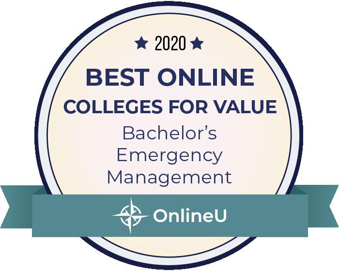 2020 Best Online Colleges Offering Bachelor's in Emergency Management Badge