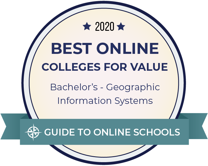 2020 Best Online Colleges Offering Bachelor's in Geographic Information Systems Badge