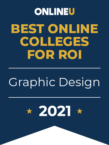 2021 Best Online Colleges Offering Bachelor's Degrees in Graphic Design Badge