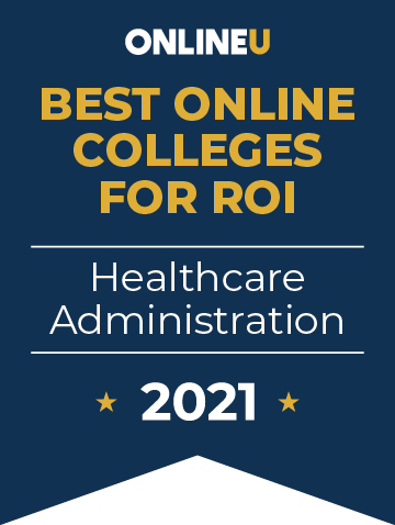 2021 Best Online Colleges Offering Bachelor's Degrees in Healthcare Administration Badge