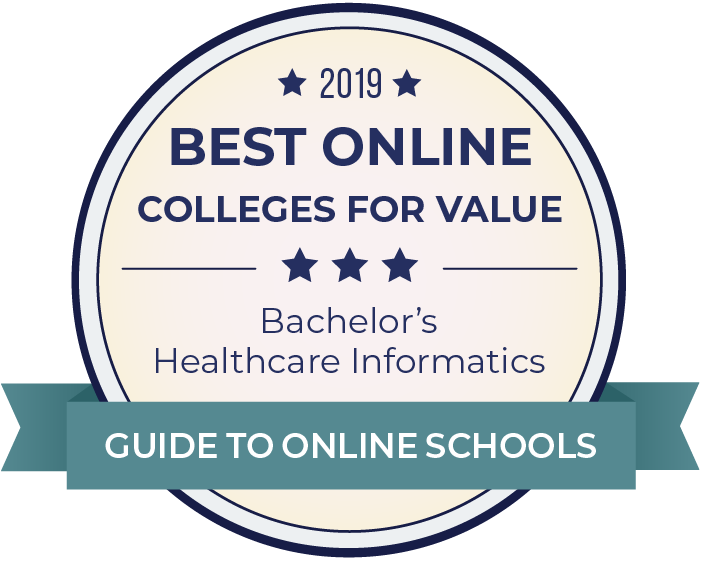 2019 Best Online Colleges Offering Bachelor's in Healthcare Informatics Badge