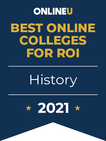 2021 Best Online Colleges Offering Bachelor's Degrees in History Badge