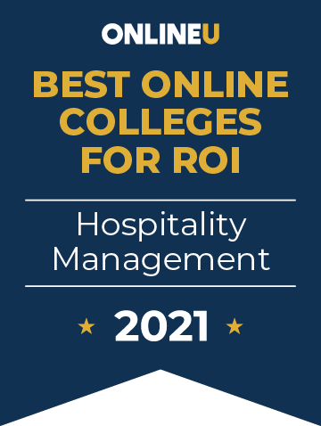 2021 Best Online Colleges Offering Bachelor's Degrees in Hospitality Management Badge