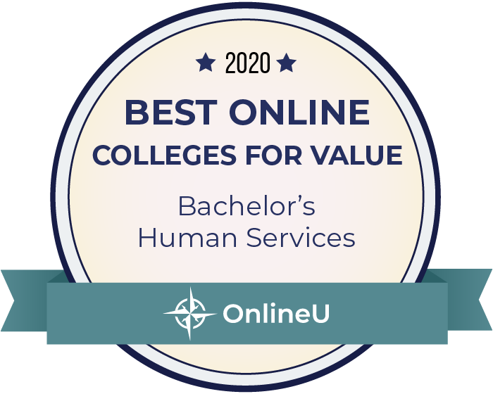 2020 Best Online Colleges Offering Bachelor's in Human Services Badge