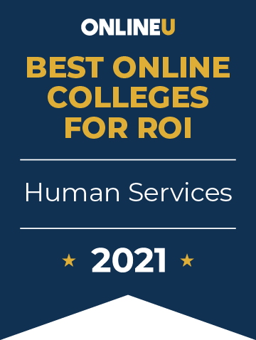 2021 Best Online Colleges Offering Bachelor's Degrees in Human Services Badge