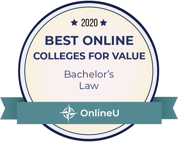 2020 Best Online Colleges Offering Bachelor's in Law Badge