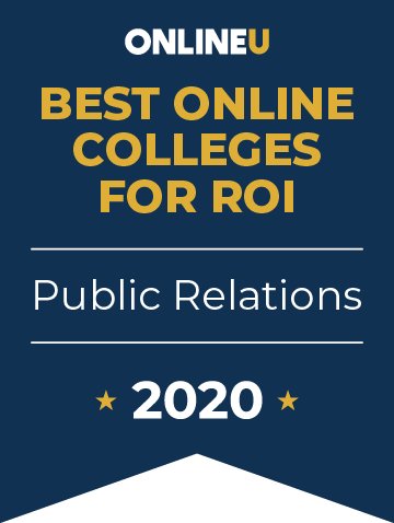 2020 Best Online Colleges Offering Bachelor's in Public Relations Badge