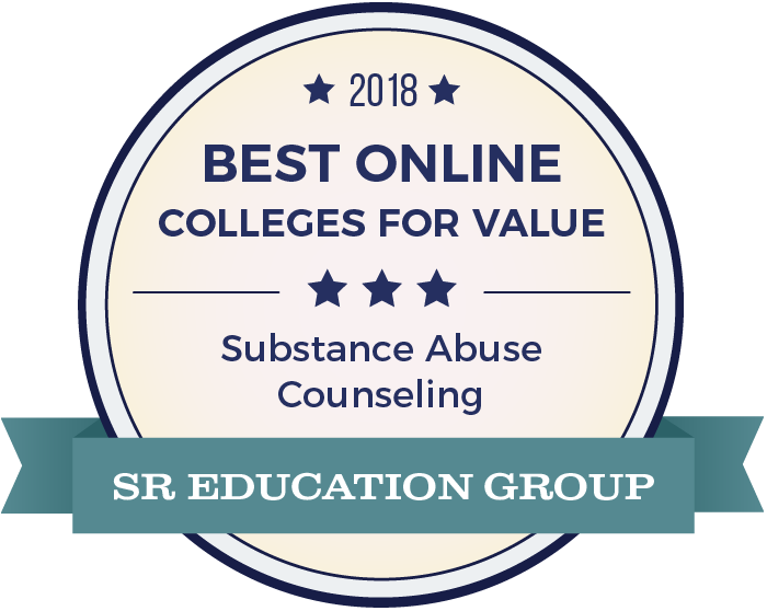Substance Abuse Counseling-Top Online Colleges-2018-Badge