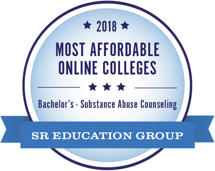 Substance Abuse Counseling-Most Affordable Online Colleges-2018-Badge