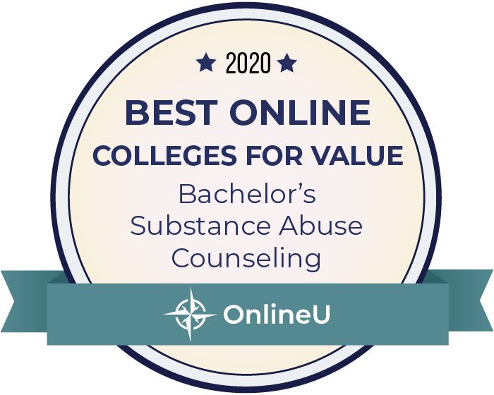 2020 Best Online Colleges Offering Bachelor's in Substance Abuse Counseling Badge