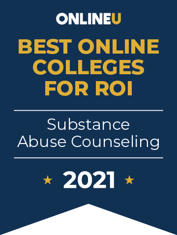 2021 Best Online Colleges Offering Bachelor's Degrees in Substance Abuse Counseling Badge