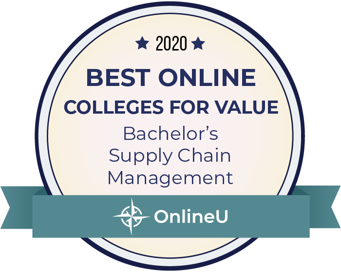2020 Best Online Colleges Offering Bachelor's in Supply Chain Management Badge
