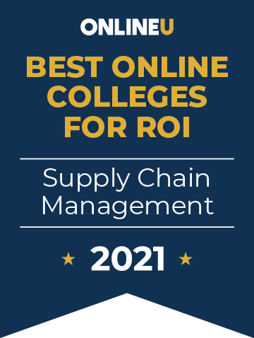 2021 Best Online Colleges Offering Bachelor's Degrees in Supply Chain Management Badge