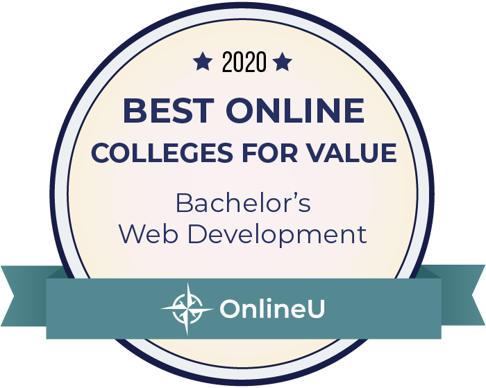 2020 Best Online Colleges Offering Bachelor's in Web Development Badge