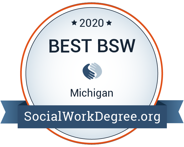 2020 Best Bachelor's Degrees of Social Work Programs in Michigan Badge