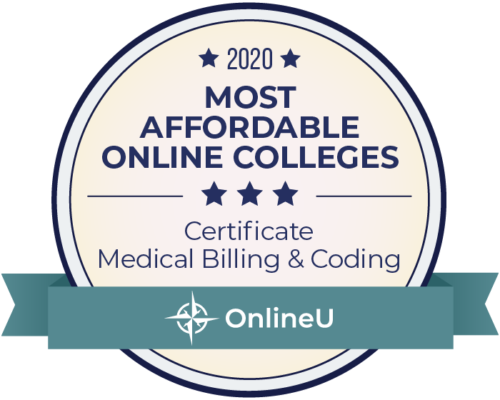 2020 Most Affordable Online Colleges Offering Certificate in Medical Billing & Coding Badge