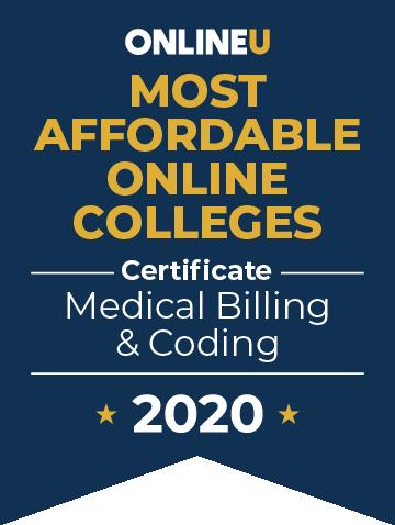 2020 Most Affordable Online Colleges Offering Certificate in Medical Billing & Coding Badge
