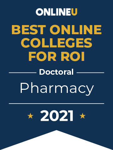 2021 Best Online Colleges Offering Doctoral Degrees in Pharmacy Badge