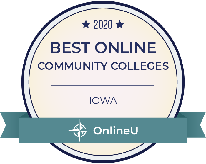2020 Best Online Community Colleges in Iowa Badge
