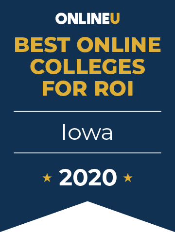 2020 Best Online Colleges in Iowa Badge