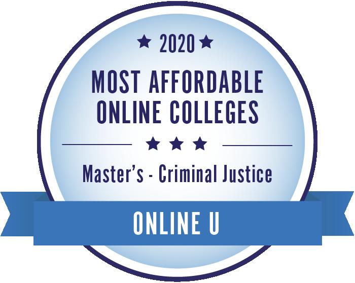 2020 Most Affordable Criminal Justice Masters Degrees Badge