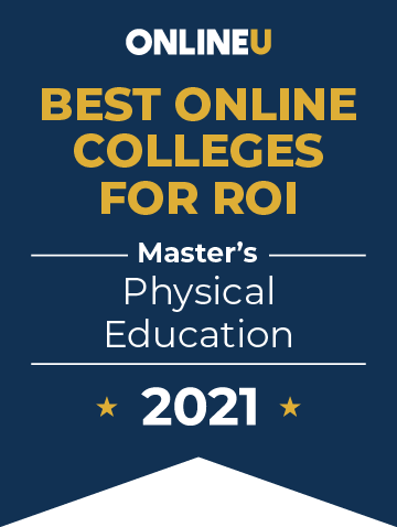 2021 Best Online Colleges Offering Master's Degrees in Physical Education Badge
