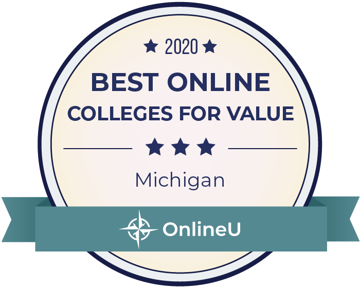 2020 Best Online Colleges in Michigan Badge