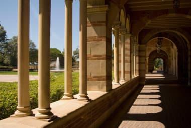 outdoor corridor on college campus